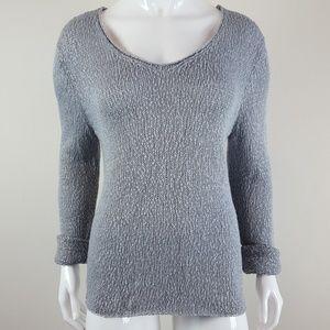 Eileen Fisher Gray Open Knit Linen Blend Sweater